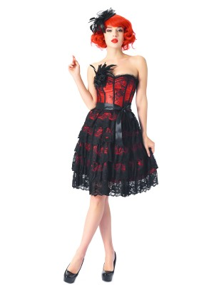 Exquisitely Red 14 Plastic Bones Corset Dresses Strapless Close Fit