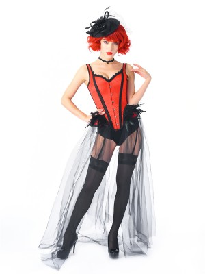 Exotic Red 2-Piece Gothic Corset With Pantie Gauze Hem Figure Slimmer