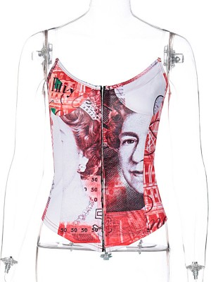 Red Clear Strap Printed No Fish Bones Corset Curve Smoothing