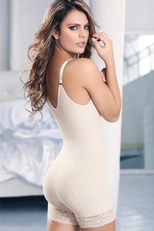 Beige Butt Lift Zipper  U-back Slimming Body Shaper