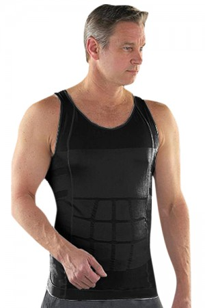 Solid Black Stretchable Breathable Vest For Men