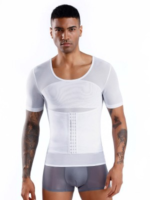 White Short Sleeve Men's Shaper Sheer Mesh Tummy Control