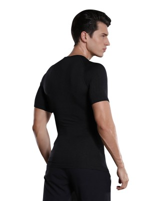 Waist Control Black Men's Shaper Short Sleeve High Stretch Midsection Compression