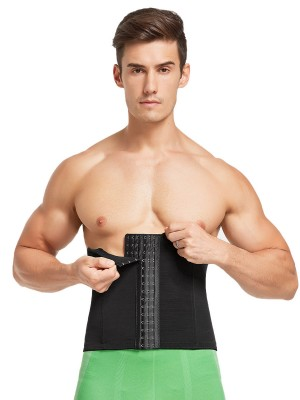 Black Men Waist Cincher 6 Rows Hooks Mesh High-Compression