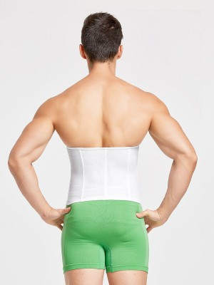 Moderate Control White Mesh Men Waist Trainer Metal Cartilage Hourglass