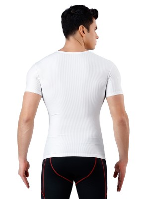 Ultimate Soft White Tummy Control Rib Men Shaper Seamless Waist Slimmer