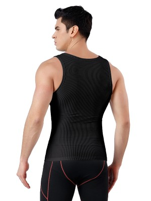 Black Seamless Men's Tank Round Collar Natural Shaping