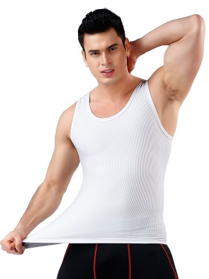 Spontaneous Heating White Solid Color Wide Strap Men Top Shaper Instantly Slims