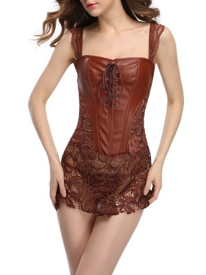 Firm Control Brown Back Zipper Lace-Up Corset Set Plus Size