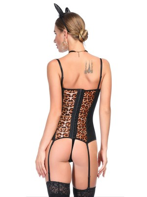 Magic Rose Red Leopard Patchwork Corset G-String Mesh Inexpensive