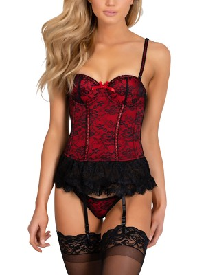 Ethereal Red Mesh Patchwork Corset With G-String Quality Assured