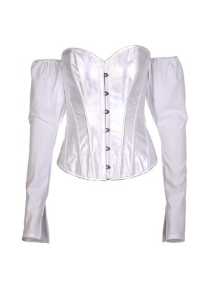 White Long Sleeve Back Lace-Up Corset Top Hidden Curves