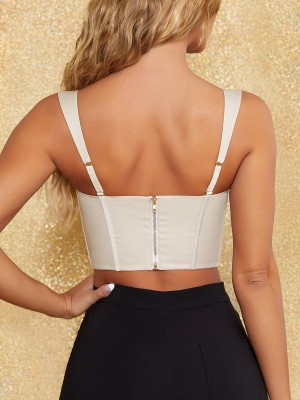 Beige Back Zip Sleeveless 4 Bones Corset Top Ultra Cheap