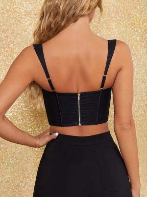 Black Sling Back Zip Corset With Chest Pad Body Shaper