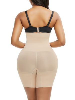 Skin Color Seamless Shapewear Pants Buckle Mid-Thigh Slim Girl