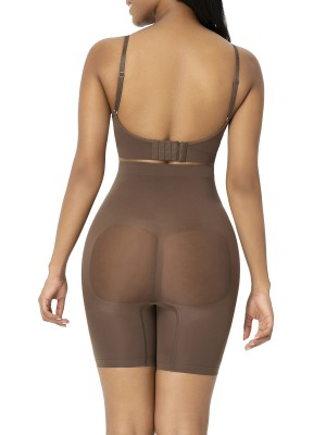 Brown Shapewear Shorts Butt Lifter Anti-Slip Curve Creator