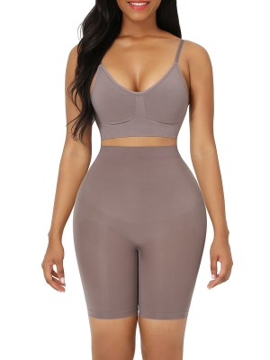 Purple Plus Size High Waist Shapewear Shorts Abdominal Control