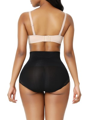 Black Seamless Plus Size Butt Lifter Lace Trim Anti-Slip
