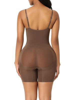 Coffee Color Body Shaper Overlap Gusset Solid Color Waist Control