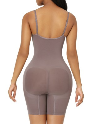 Purple Seamless Full Body Shapewear Open Gusset Good Elastic