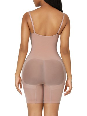 Skin Color Adjustable Sling Low Back Shapewear Bodysuit Slimming Tummy