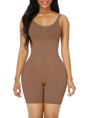 Light Coffee Best Plus Size Full Body Shaper Open Crotch Tummy Training