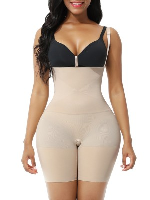Nude Seamless Body Shaper Shorts Open Gusset Abdominal Slimmer
