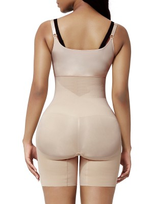 Nude Open Bust Shapewear Bodysuit Plus Size High Elasticity