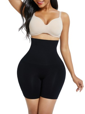 Black Seamless High Waist Mid-Thigh Shaper Shorts Tummy Control