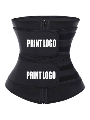 Tummy Control Black Big Size Neoprene Waist Trainer With Sticker