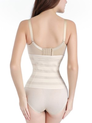 Skin Color Hollow Out Waist Cincher 3 Rows Hooks