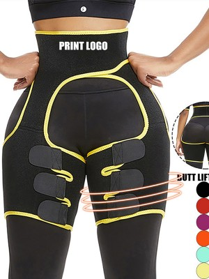 Butt Lifting Yellow Neoprene Thigh Shaper High Waist Abdominal Control