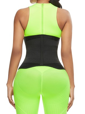 Defining Moment Black Neoprene Zipper Waist Trainer 10 Bones