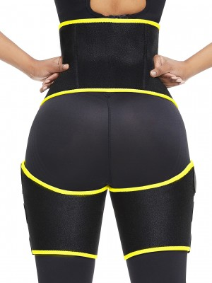 Powerful Yellow Neoprene Tummy Control Thigh Slimmer Elastic