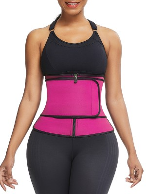 Women Rose Red Waist Neoprene Trainer Queen Size Zip
