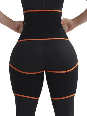 Natural Orange Sweat Tight Trimmer High Waist Pocket Figure Slimmer