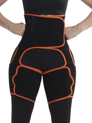 Orange Neoprene Sweat Thigh Trimmer High Waist Pocket Figure Slimmer
