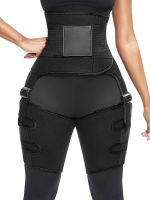 Chic Black High Waist Adjustable Thigh Trimmer Neoprene Slimming
