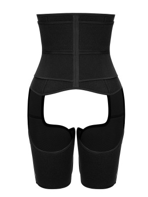 Black Neoprene High Waist Thigh Shaper With Zipper Fat Burning