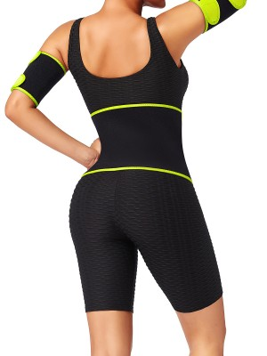 Yellow Colorblock Embossed Waist Belt Neoprene Body Trimmer