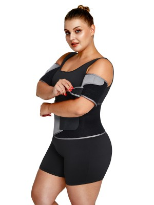 Light Gray Colorblock Slimming Arm Shaper Neoprene Anti-Slip