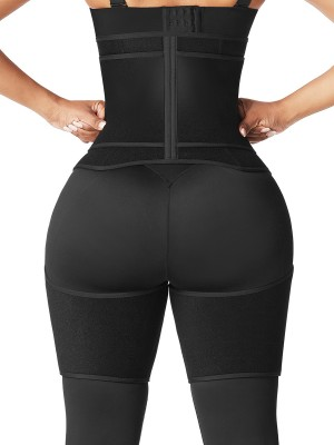 Black Neoprene Waist And Thigh Shaper Zipper Hourglass Figure