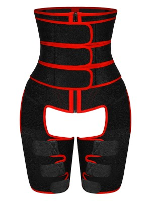 Red High Waist Sticker Thigh Shaper With Zipper Blood Lose Weight