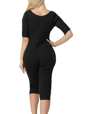 Slimming Black Neoprene Thigh Length Bodysuit Shapewear