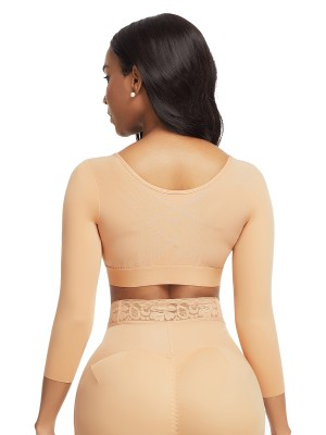 Dark Complexion 3/4 Sleeve Zip Open Bust Shapewear Top Firm Foundations