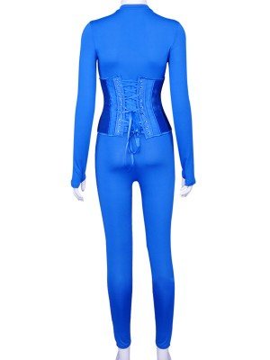 Blue Long Sleeve Jumpsuit Corset Set With Thumbhole For Ladies