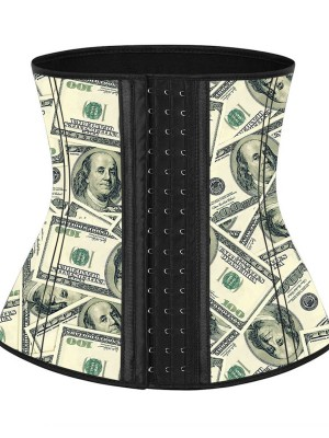 Pre-sale Waist Money Pattern Latex Waist Cincher With Hooks Figure Slimmer