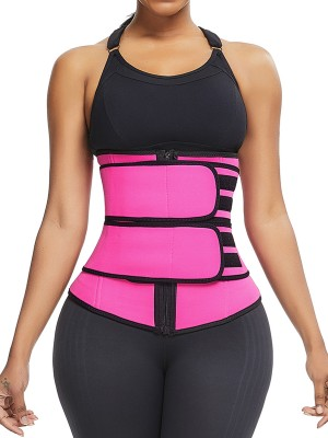 Comfortably Rose Red Neoprene Waist Cincher Double Belts Fat Burning