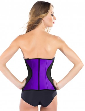 Cheap 9 Steel Boned Latex Corset Waist Trainer