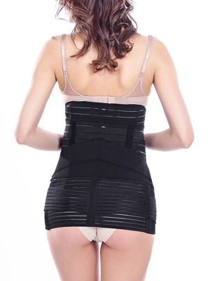 Compression Black C-Section Waist Cincher Sticker Design Moderate Control